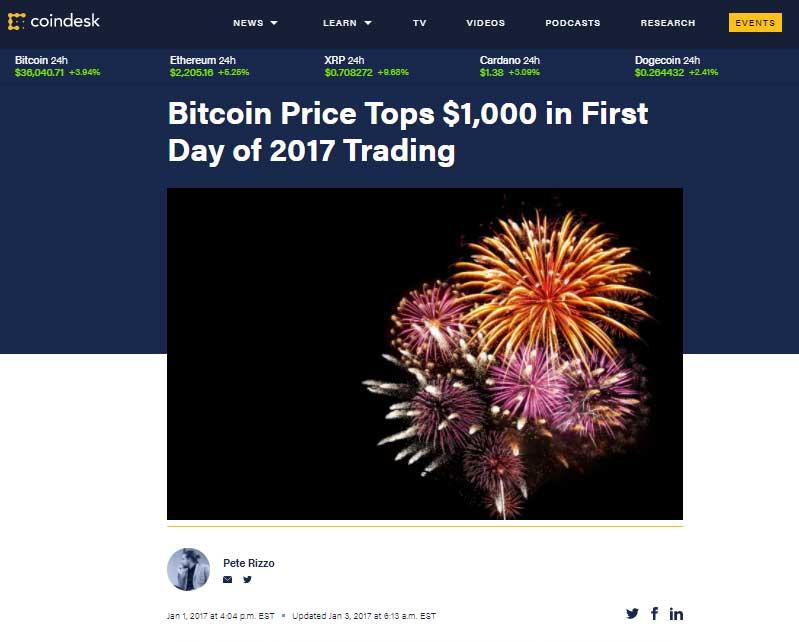 Bitcoin tops $1000