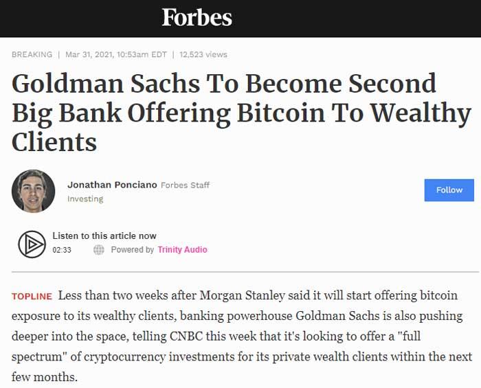 Goldman Sachs to offer bitcoin